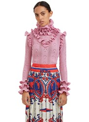 Gucci Roll Neck Ruffled Knit Sweater Pink