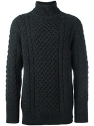 The Inoue Brothers Cable Knit Turtle Neck Sweater Grey