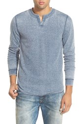 Men's The Rail Trim Fit Notch Collar Long Sleeve Thermal Blue Insignia Burnout