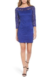 As U Wish Women's Secret Charm Bateau Neck Lace Body Con Dress Cobalt