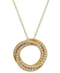 B. Brilliant Cubic Zirconia Pave Circle Pendant Necklace In 18K Gold Over Sterling Silver