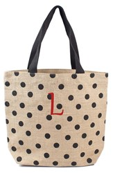 Cathy's Concepts Personalized Polka Dot Jute Tote Black Black L