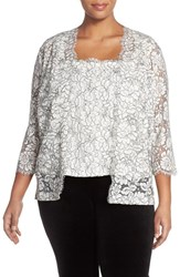 Plus Size Women's Alex Evenings Embroidered Lace Twinset