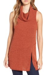Astr Women's Sleeveless Cowl Neck Tunic Rust