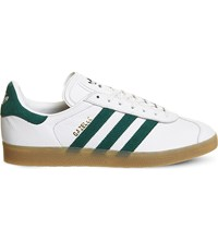 Adidas Gazelle Lace Up Leather Trainers Vintage White Gum