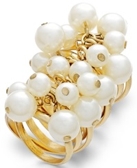 Bar Iii Gold Tone Imitation Pearl Cluster Multi Row Ring No Color