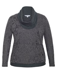 Chesca Baroque Print Top Charcoal
