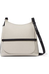 The Row Sideby Textured Leather Trimmed Canvas Shoulder Bag