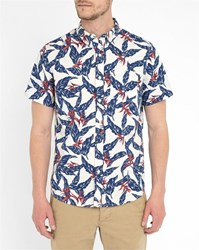 Denim And Supply Ralph Lauren White Floral Print Short Sleeve Shirt