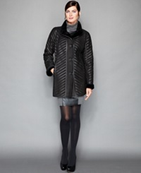 The Fur Vault Shearling Chevron Stripe Coat Black