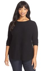 Plus Size Women's Sejour Cashmere Shirttail Hem Sweater Black