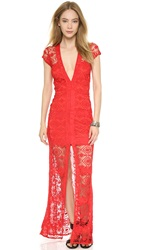 For Love And Lemons Mariposa Maxi Dress Hot Red