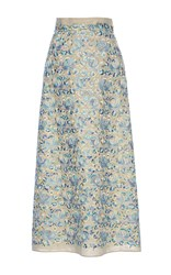 Luisa Beccaria Linen Embroidered Maxi Skirt Print
