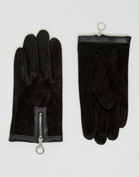 Asos Suede Gloves With Circle Zip Gloves Black