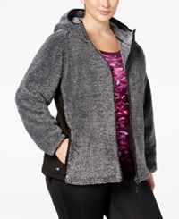 Ideology Plus Size Fuzzy Hooded Jacket Only At Macy's Black White