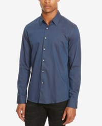 Kenneth Cole Reaction Men's Slim Fit Neat Long Sleeve Shirt Gravel Combo