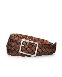 Cole Haan Braided Leather Belt Cognac