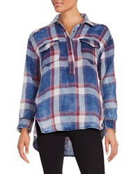 Blank Nyc Button Front Plaid Tunic Jitney