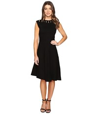 Catherine Malandrino Sleeveless Cut Out Yoke Fit Flare Black Women's Dress