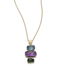 Marco Bicego Murano Amethyst Blue Topaz Green Tourmaline And 18K Yellow Gold Column Pendant Necklace Gold Multi