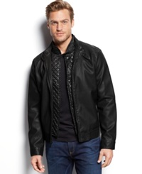 Kenneth Cole Quilted Bib Faux Leather Moto Jacket Black