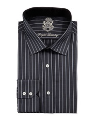 English Laundry Vertical Stripe Dress Shirt. Black Gray 16X32