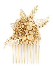 Miriam Haskell Leaf Filigree Hair Comb Metallic