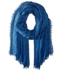 Echo Crinkle With Sequins Wrap Denim Scarves Blue