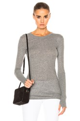 Enza Costa Cashmere Cuffed Crew Tee In Gray