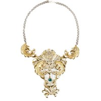 Laura Cantu Jewelry Victorian Inspired Statement Necklace Gold