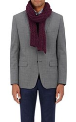 Inis Meain Men's Donegal Effect Wool Cashmere Scarf Dark Purple Red Dark Purple Red