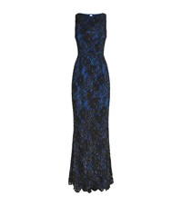 Alice Olivia Jae Embroidered Lace Open Back Gown Female Black
