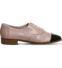 Office Damsel Leather Lace Up Flats Nude Black Leather