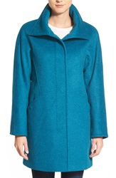 Ellen Tracy Convertible Collar Kimono Sleeve Wool Blend Coat Regular And Petite Teal