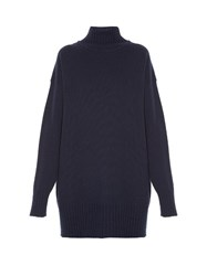 Jil Sander High Neck Tunic Sweater Navy