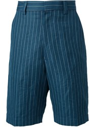 Umit Benan Pinstriped Bermuda Shorts Blue