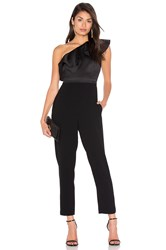 Cynthia Rowley Satin Ruffle Jumpsuit Black