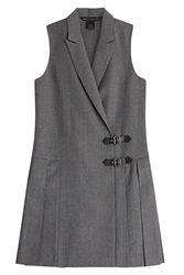 Marc By Marc Jacobs Pleated Wool Mini Dress Grey