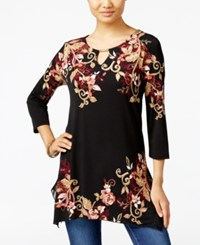 Jm Collection Floral Print Handkerchief Hem Tunic Only At Macy's Brettwood Blossom