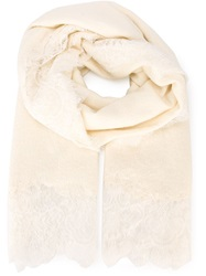 Ermanno Scervino Lace Detail Scarf Nude And Neutrals
