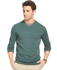 Van Heusen Big And Tall Jaspe Chest Stripe V Neck Pullover Green Gables