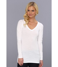 Lamade Fitted V Neck Tee White Women's Long Sleeve Pullover