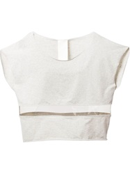 Luxury Fashion Pvc Panel Cropped Top Grey