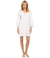 Oscar De La Renta Spa Pima Cotton Knit Sleepshirt Signature White Women's Pajama