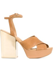 Hogan Metallic Heel Platform Sandals Nude And Neutrals