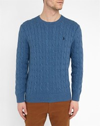 Polo Ralph Lauren Navy Cable Knit Cotton Round Neck Sweater Blue