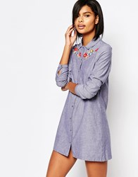 Vero Moda Embroidered Chambray Shirt Dress Denim Blue