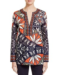 Tory Burch Geo Floral Cotton Tunic Tory Navy Pottery Placed