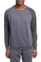 Daniel Buchler Washed Cotton Blend Long Sleeve Crewneck T Shirt Blue