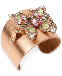 Betsey Johnson Gold Tone Crystal Butterfly Faux Leather Cuff Bracelet Rose Gold